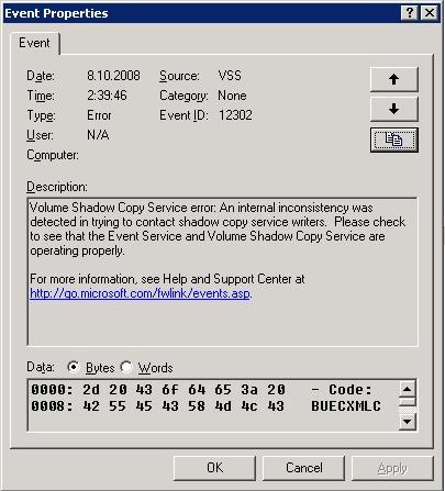 Vss writer service windows 2008